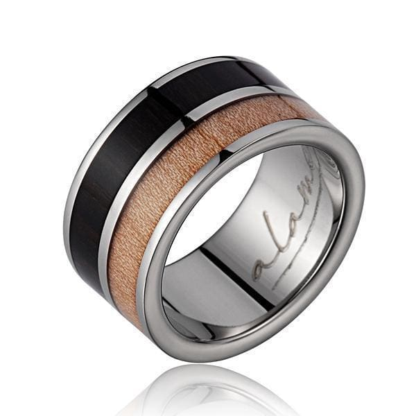 Mens Titanium Scroll Wedding Band Genuine Macassar Ebony & Maple Wood Ring - 10mm