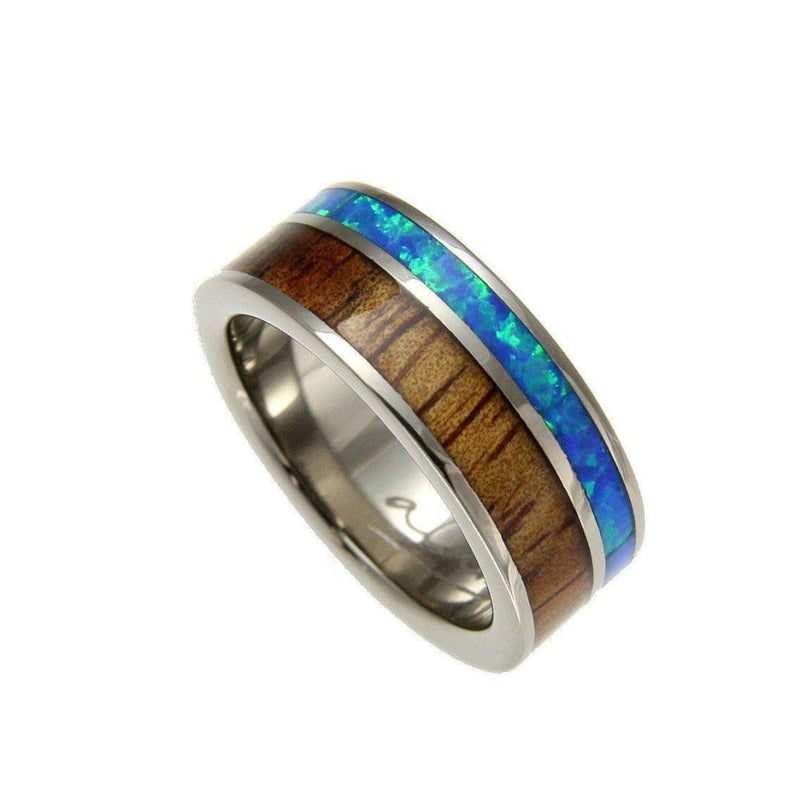 Mens Titanium Wedding Band Genuine Inlay Hawaiian Koa Wood Opal Ring - 8mm