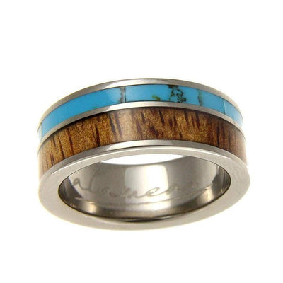 Mens Titanium Wedding Band Genuine Inlay Hawaiian Koa Wood Turquoise Ring - 8mm