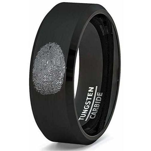 Mens Tungsten Band Classic Black Brushed Beveled Edge Finger Print Laser Engraved- 8mm