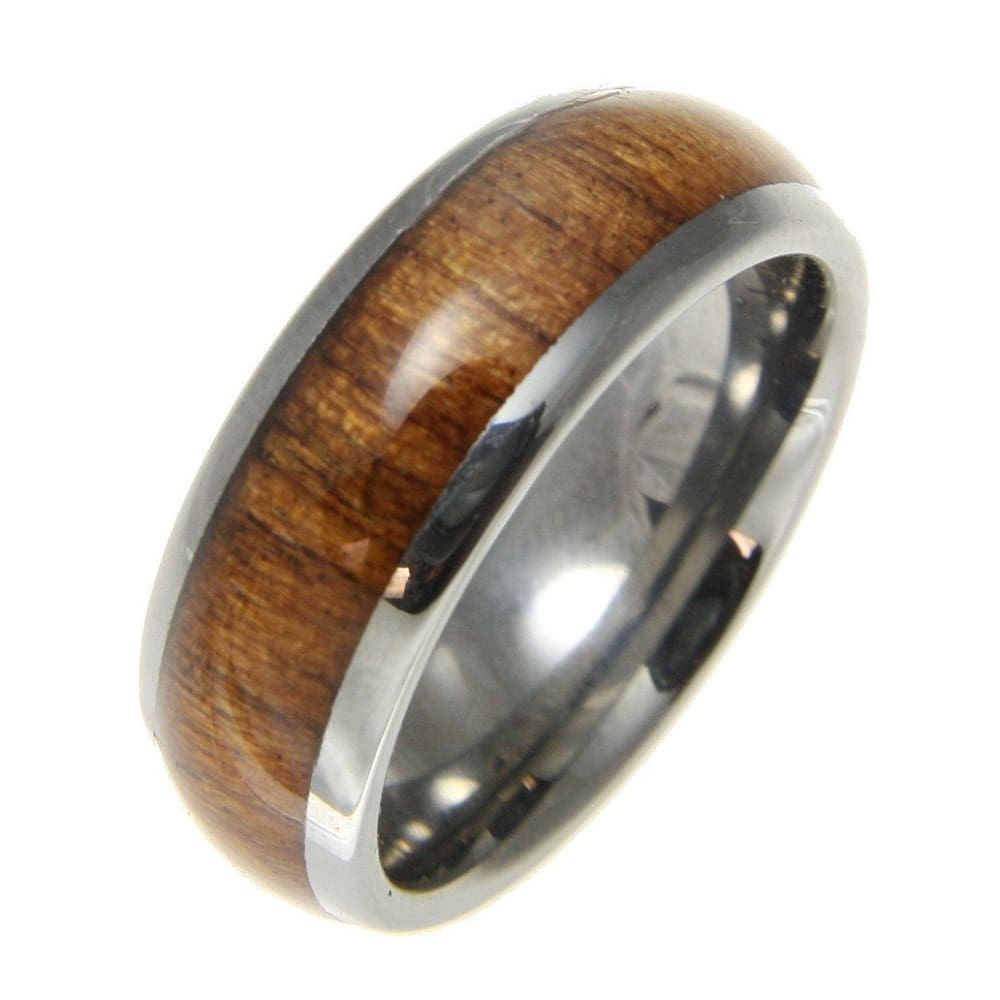 Mens Tungsten Band Genuine Inlay Hawaiian Koa Wood Comfort Fit Dome Style Ring - 8mm