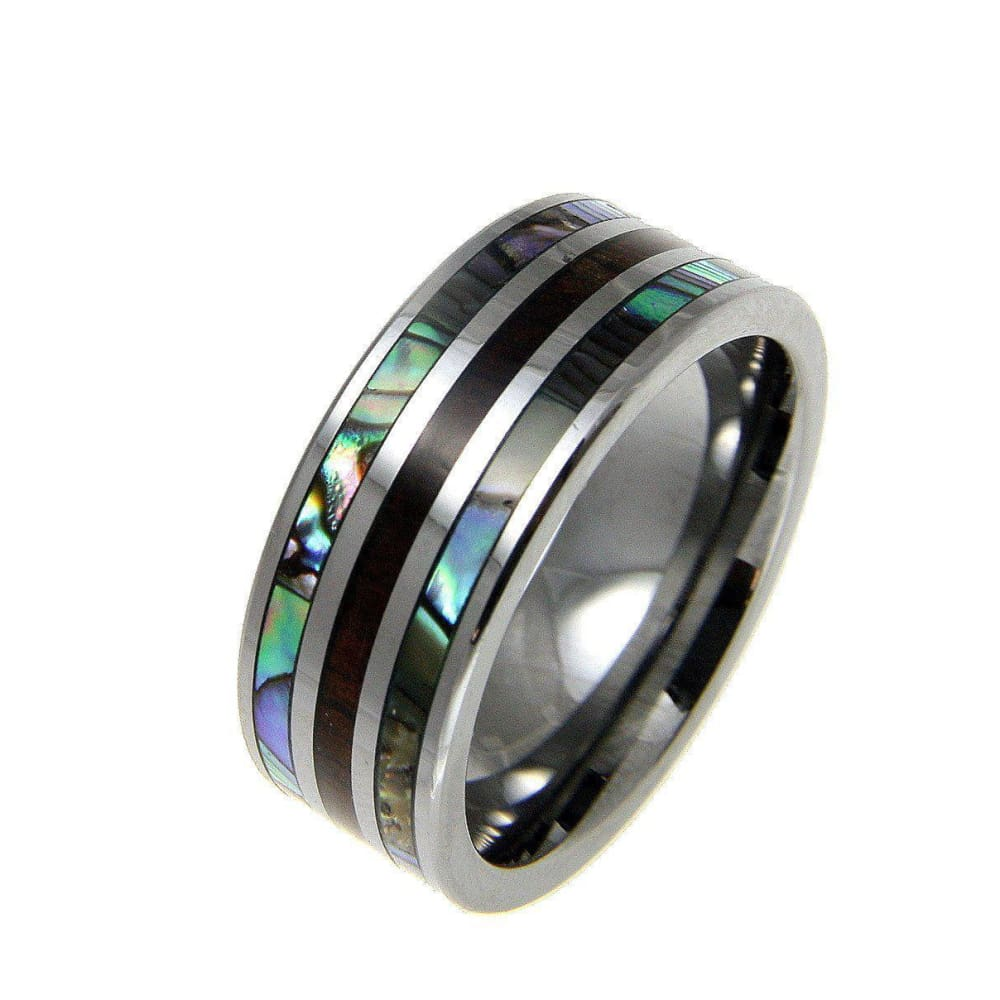 Mens Tungsten Band Ring Genuine Inlay Hawaiian Koa Wood Abalone Shell Comfort Fit - 8mm
