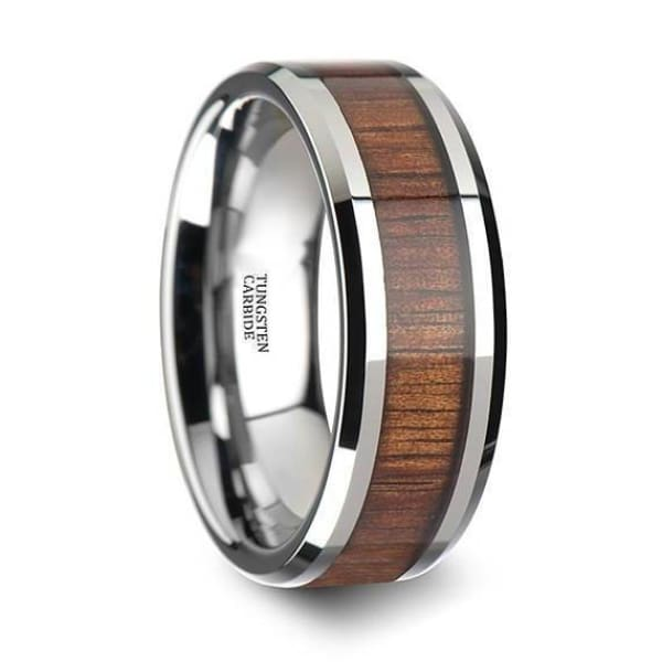 Mens Tungsten Carbide Koa Wood Inlaid Wedding Ring With Beveled Edges 4mm - 12 mm