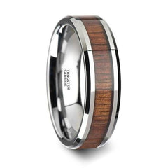 Mens Tungsten Carbide Koa Wood Inlaid Wedding Ring With Beveled Edges 4mm - 12 mm - Ring