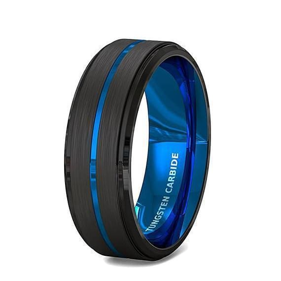 Mens Tungsten Carbide Ring with Black Brushed Thin Blue Groove Step Edges 8mm
