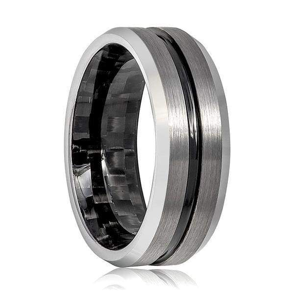 Mens Tungsten Carbide Ring With Black Grooved Center & Carbon Fiber Inside 8mm