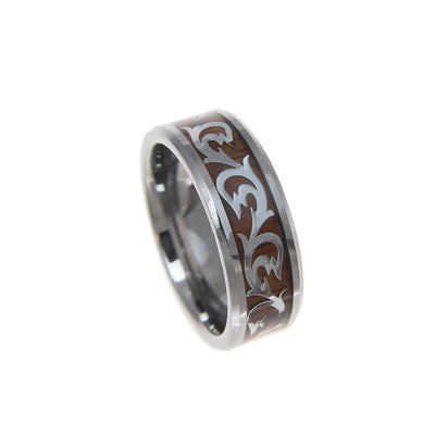 Mens Tungsten Carbide Ring With Real Hawaiian Koa Wood Inlay Shiny Scroll - 8mm
