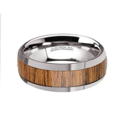 Mens Tungsten Carbide Wedding Band With Teak Wood Inlay High Polish Edges - 8 mm