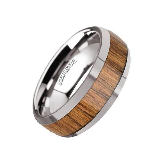 Titanium Sterling Silver Inlay Flat 6mm Polished Band Size 7 Length Width 6