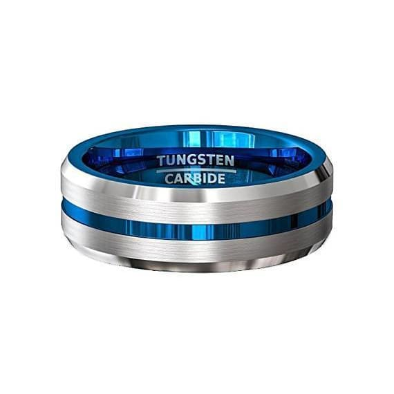 Mens Tungsten Carbide Wedding Ring w/ Blue Grooved Center Comfort Fit - 8mm