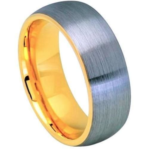 Mens Tungsten Ring Domed Yellow Gold IP Inside & Gun Metal Brushed Center - 8mm