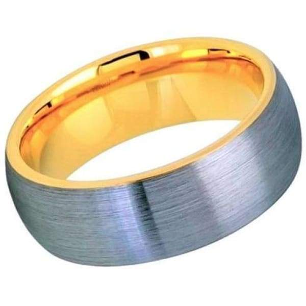 Men's Tungsten Ring Domed Yellow Gold IP Inside & Gun Metal Brushed Center - 8mm