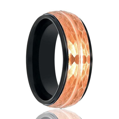 Mens Tungsten Ring Two-Tone Black Inside & Rose Gold Hammered Finish - 8mm