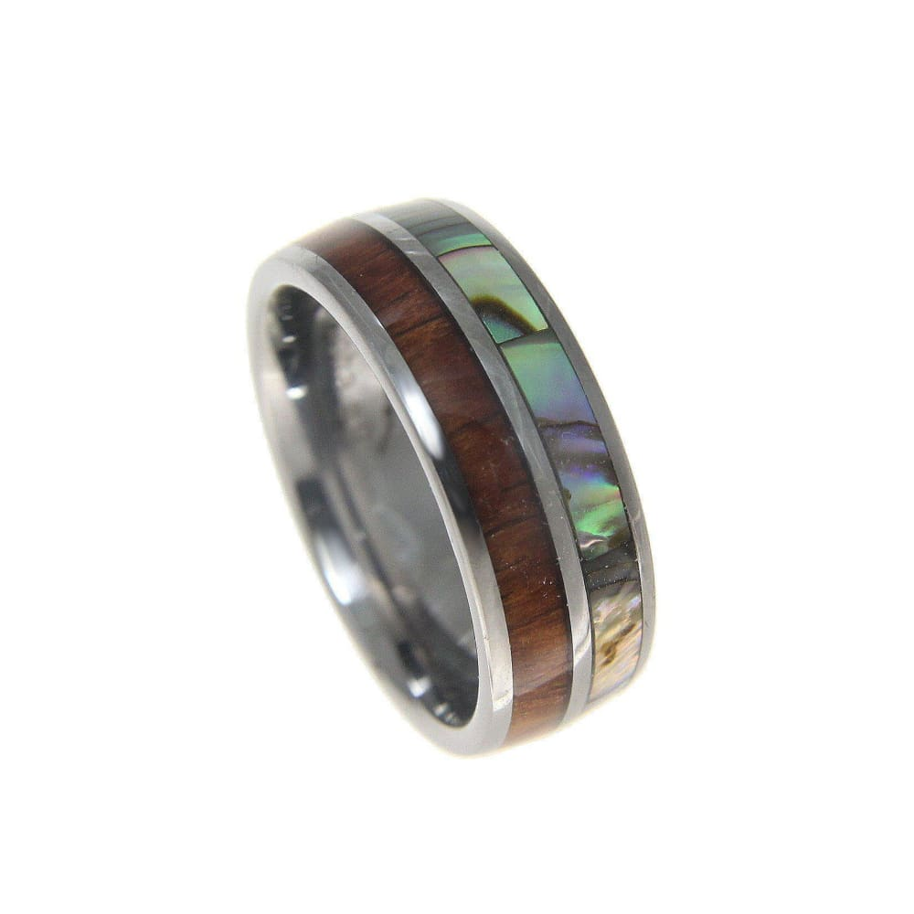 Mens Tungsten Wedding Band Abalone Hawaiian Koa Wood Comfort Fit Ring - 8mm