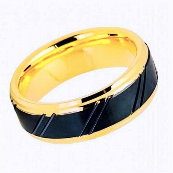 Mens Tungsten Wedding Band Gold Inner Ring Diagonally Grooved Center & Black IP - 8mm