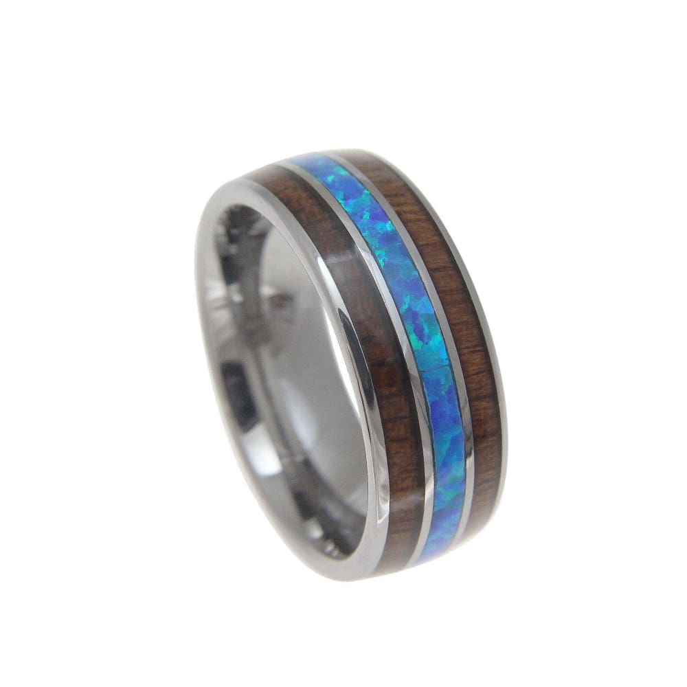 Mens Tungsten Wedding Band Ring Hawaiian Koa Wood Opal Genuine Inlay Comfort Fit - 8mm