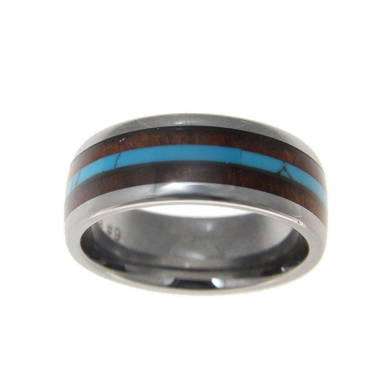 Mens Tungsten Wedding Band Turquoise Hawaiian Koa Wood Comfort Fit Ring - 8mm