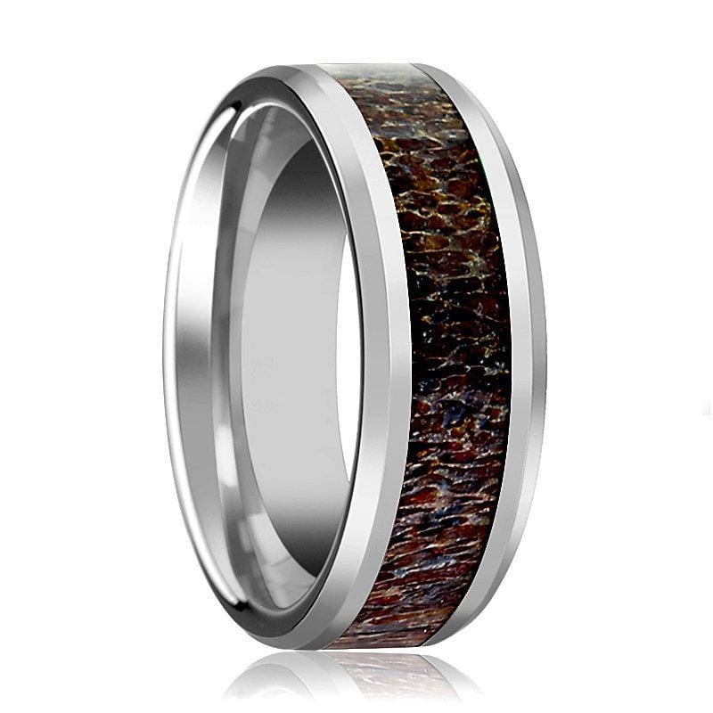 Mens Tungsten Wedding Band W/ Dark Deer Antler Beveled Polished Finish 8mm