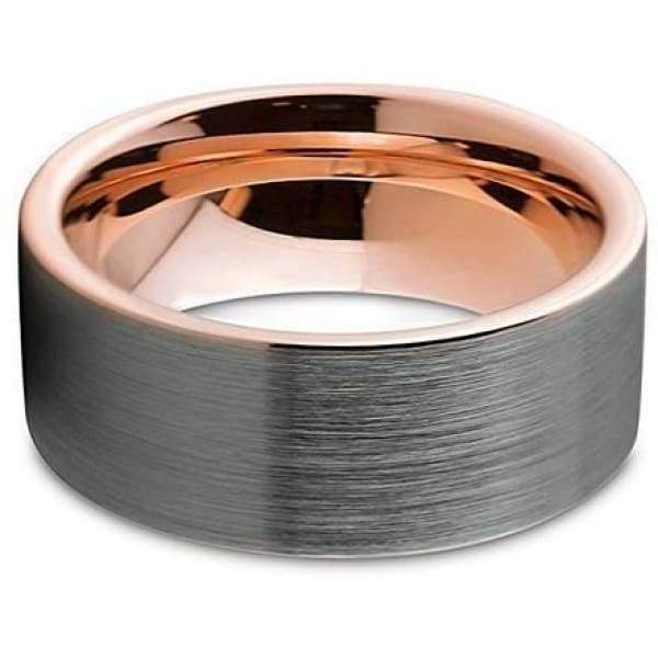 Mens Tungsten Wedding Band With 18K Rose Gold Inlay Pipe Cut Brushed Finish - 9mm