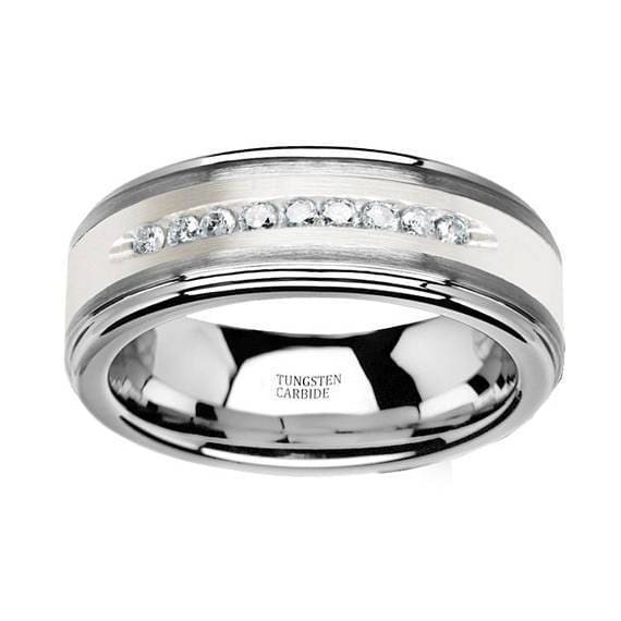 Mens Tungsten Wedding Band with Brushed Silver Inlay and 9 White Diamonds - 8mm