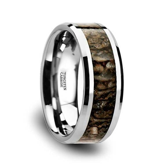 Mens Tungsten Wedding Band With Dinosaur Bone Inlay Beveled Polished Finish 8mm