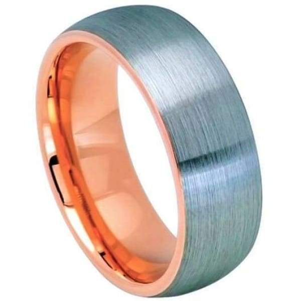 Mens Tungsten Wedding Ring Rose Gold IP Inside & Gun Metal Brushed Center - 8mm
