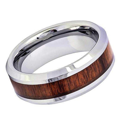 Mens Tungsten Wedding Ring Silver High Polish Koa Wood Inlaid Center - 8mm