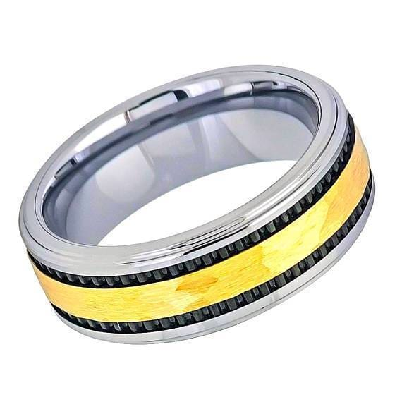 Mens Tungsten Wedding Ring Yellow Gold IP Hammered Center with Black Stripes- 8mm
