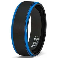 Mens Two Tone Brushed Black Tungsten Ring With Blue Stepped Edges - 8mm