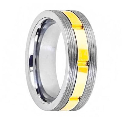 Mens Wedding Tungsten Ring Gun Metal Screw Thread Sides and Yellow Gold Grooved Shiny Center - 8mm