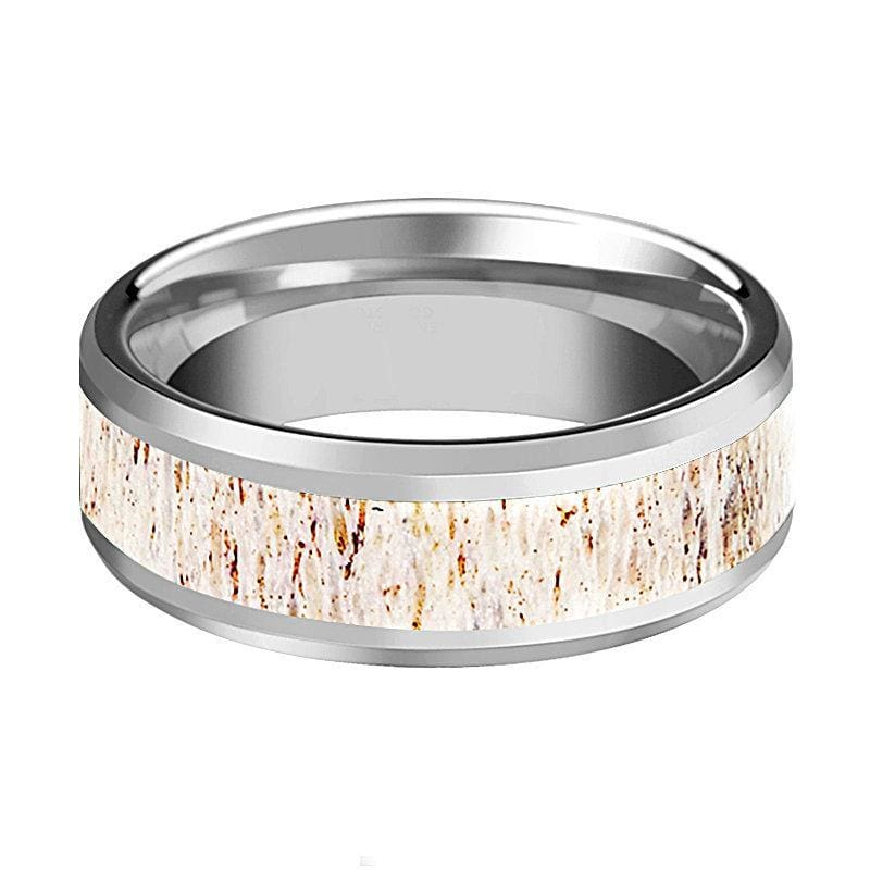 Men's White Deer Antler Inlay Tungsten Wedding Band Beveled Polish Finish - 8mm