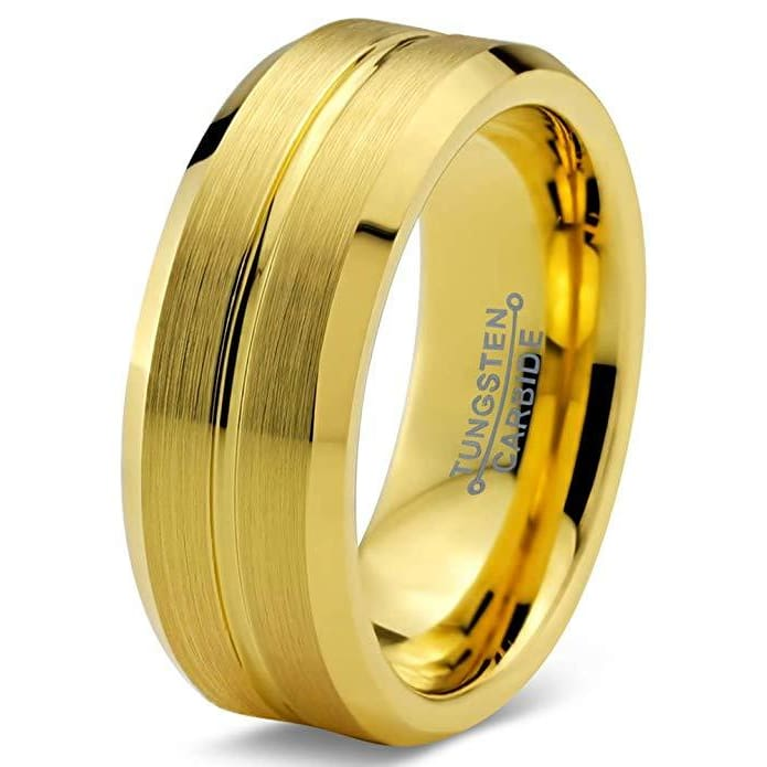 Men's Yellow Gold IP Tungsten Wedding Ring Bevel Edges and Grooved Center - 8mm