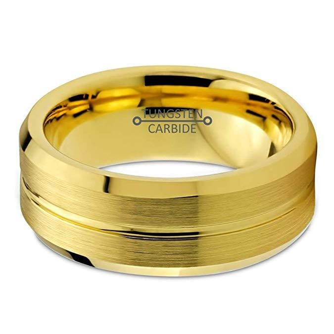 Mens Yellow Gold IP Tungsten Wedding Ring Bevel Edges and Grooved Center - 8mm