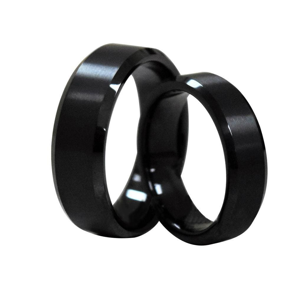 Mercer Classic Black Tungsten Ring Set With Brushed Center & Beveled Edges 6mm & 8mm