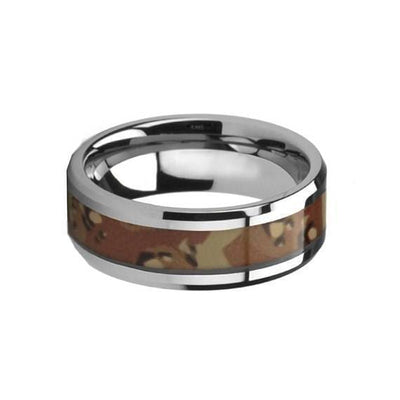 Military Camo Tungsten Wedding Ring Polished Finish Beveled Desert - 8mm