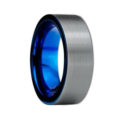 Nolan Mens Pipe Cut Tungsten Carbide Wedding Band With Blue Inside - 8 mm