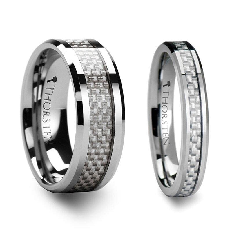 Oakley Tungsten Carbide Wedding Band Set With White Carbon Fiber - 4mm - 12mm
