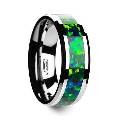 Opal Tungsten Wedding Band Green Blue Opal Inlay Beveled Polished Finish 6mm & 8mm