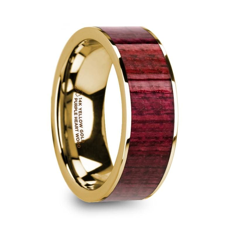 Paavo 14k Yellow Gold Mens Wedding Ring with Purpleheart Wood Inlay Polished - 8mm