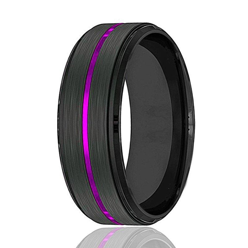 PALLAS Men's Black Tungsten Wedding Band with Thin Purple Grooved Center 8mm