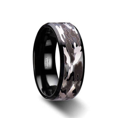 Polished Finish Beveled Tungsten Wedding Ring Black and Gray Camo - 8mm