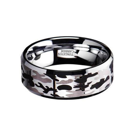 Polished Finish Black & Gray Tungsten Wedding Camo Ring Beveled Edges- 8mm