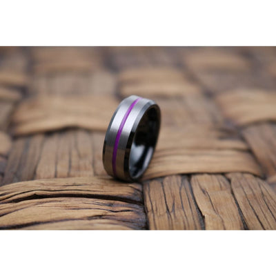 Purple Tungsten Carbide Wedding Band Comfort Fit Design Grooved - 8mm