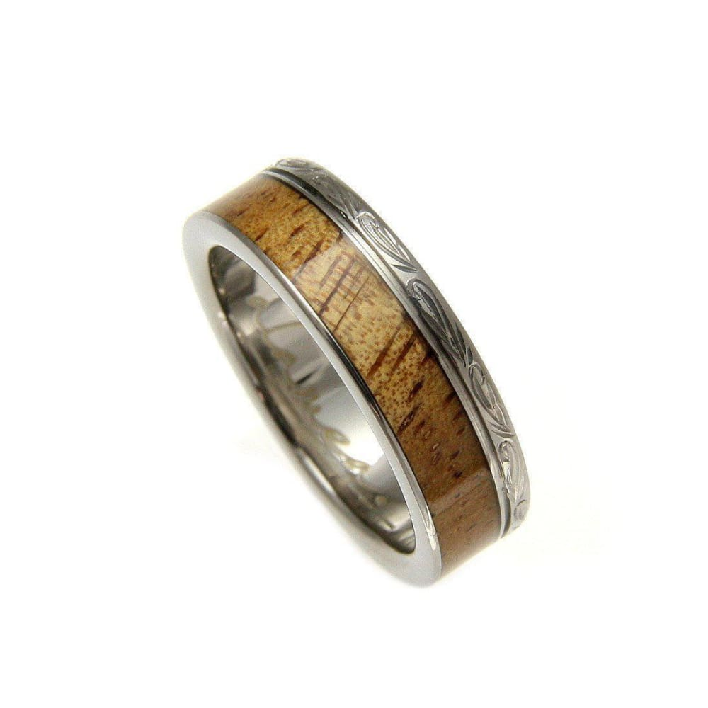 Radley Titanium Scroll Wedding Band Genuine Inlay Hawaiian Koa Wood Ring - 6mm