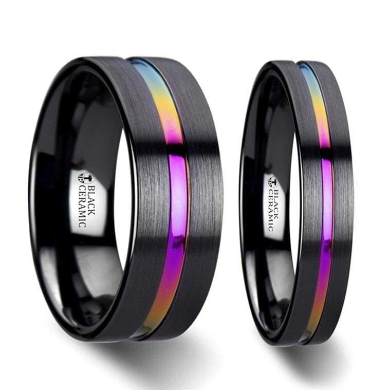 RAINBOW Black Ceramic Wedding Band Set W/ Rainbow Grooved And Brushed 4mm - 8mm