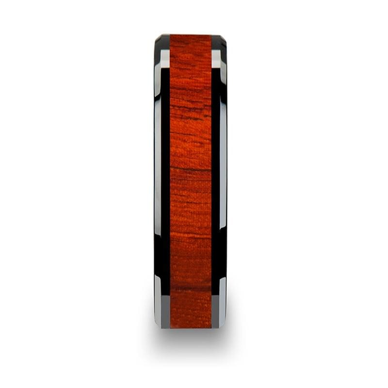 Real Padauk Wood Inlaid Black Ceramic Wedding Band With Polished Bevels 6mm-10mm