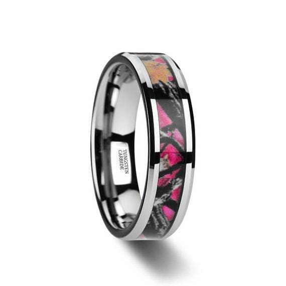 Real Pink Oak Leaves Camo Tungsten Wedding Ring Beveled Edges 6mm & 8mm