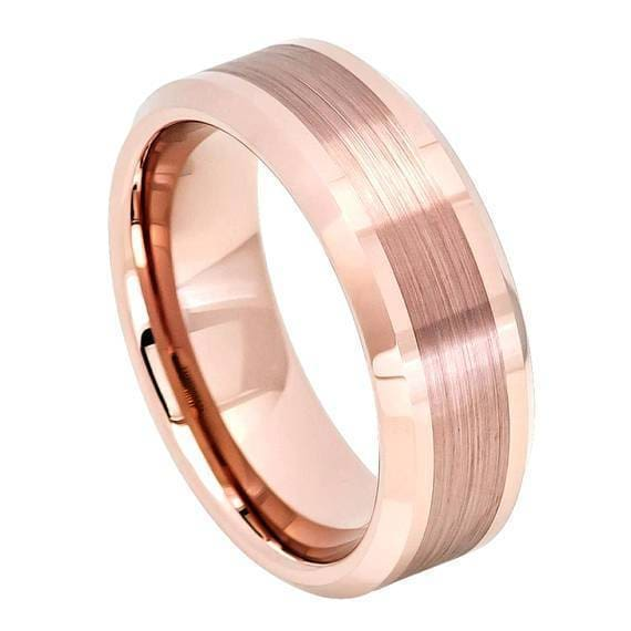 Rose Gold Carbide Tungsten Wedding Ring Brushed Center High Polish Beveled Edge - 8mm