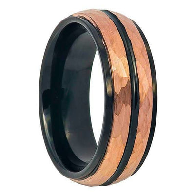 Rose Gold Hammered Finish Tungsten Two-tone with Black Center Groove Stepped Edge - 8mm