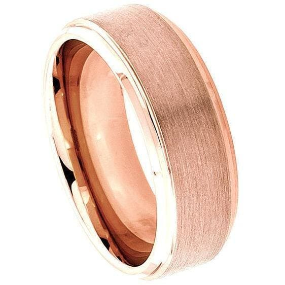 Rose Gold Inlaid Tungsten Ring With Brushed Center & High Polish Stepped Edge - 8mm